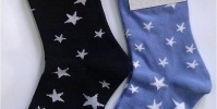 Ladies socks with stars, black/blue