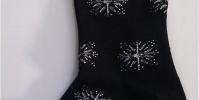 Ladies socks with snowflakes, black