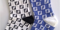 Ladies socks with blue/black checkers
